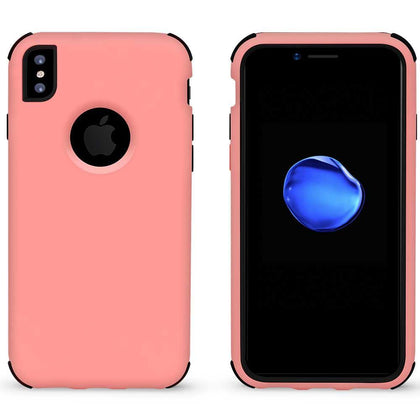 Bumper Hybrid Combo Layer Protective Case for iPhone X, Xs - Light Pink & Black
