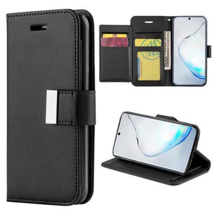 Flip Leather Wallet Case For Samsung Galaxy Note 10 Plus - Black