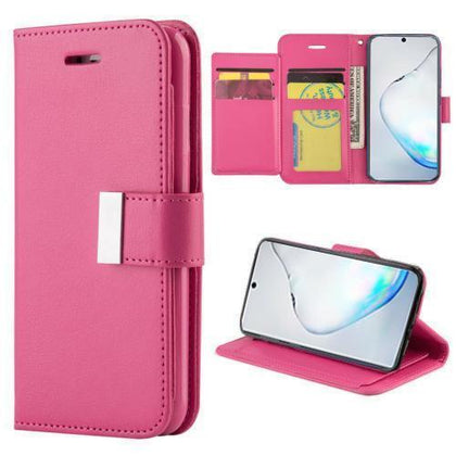 Flip Leather Wallet Case For Samsung Galaxy Note 10 Plus - Hot Pink
