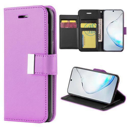 Flip Leather Wallet Case For Samsung Galaxy Note 10 Plus - Purple