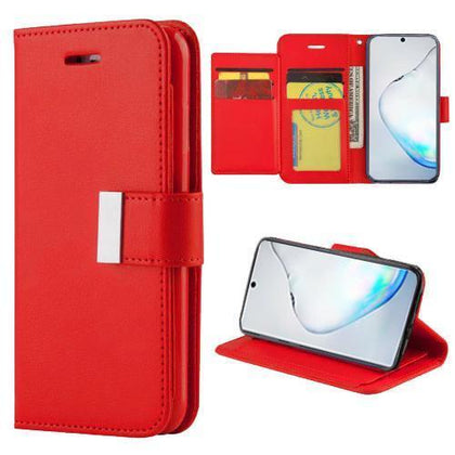 Flip Leather Wallet Case For Samsung Galaxy Note 10 Plus - Red