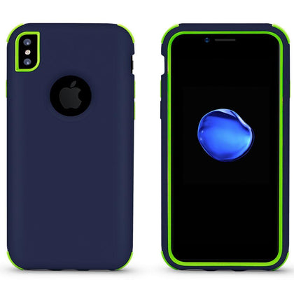 Bumper Hybrid Combo Layer Protective Case for iPhone X, Xs - Dark Blue & Green