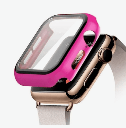 Hard PC Case with Tempered Glass For iWatch 38mm - Hot Pink