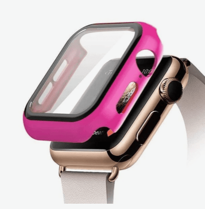 Hard PC Case with Tempered Glass For iWatch 44mm - Hot Pink