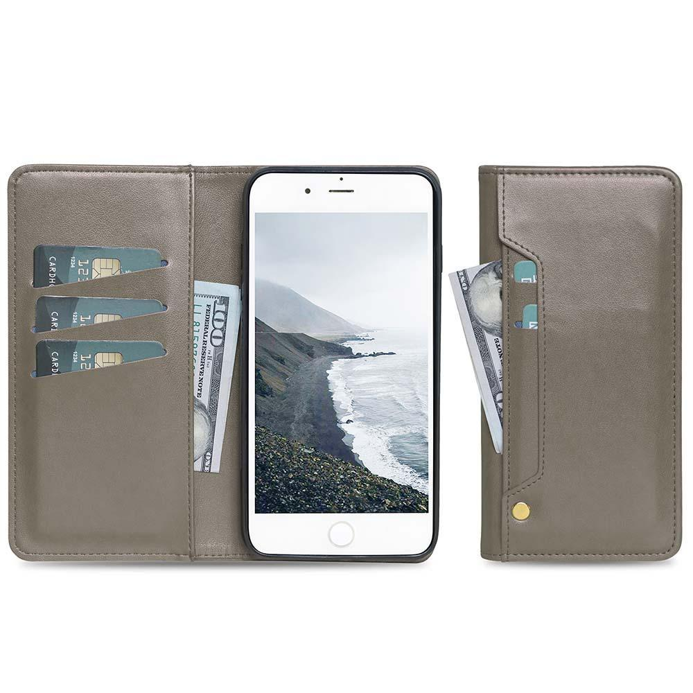 Ludic Leather Wallet Case For iPhone  11 - Grey