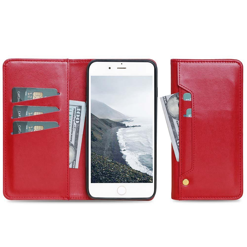 Ludic Leather Wallet Case For iPhone  11 - Red