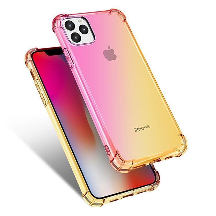Colorful Clear Case for iPhone  11 Pro - Pink & Gold
