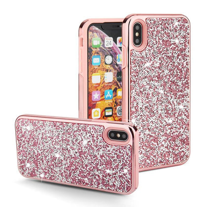 Color Diamond Hard Shell Case for iPhone XR - Rose Gold