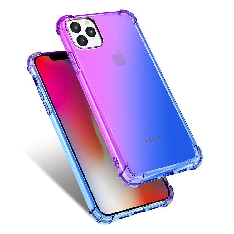 Colorful Clear Case for iPhone  11 - Purple & Blue