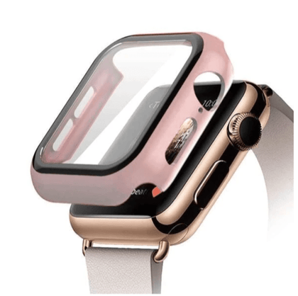 Hard PC Case with Tempered Glass For iWatch 38mm - Rose Gold