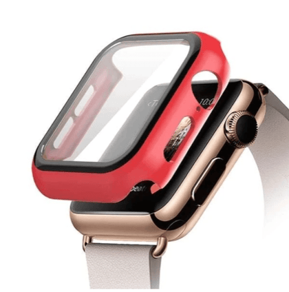 Hard PC Case with Tempered Glass For iWatch 42mm - Red
