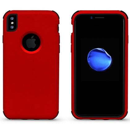 Bumper Hybrid Combo Layer Protective Case for iPhone X, Xs - Red & Black