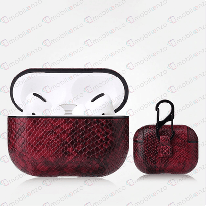 Snake Leather Case for Apple Airpods Pro - Red