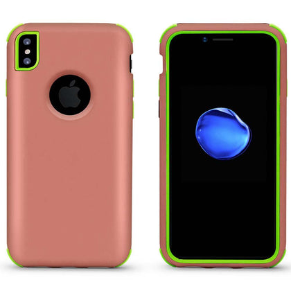 Bumper Hybrid Combo Layer Protective Case for iPhone X, Xs - Rose Gold & Green