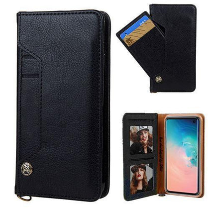 Ludic Leather Wallet Case For Samsung Galaxy Note 10 - Black