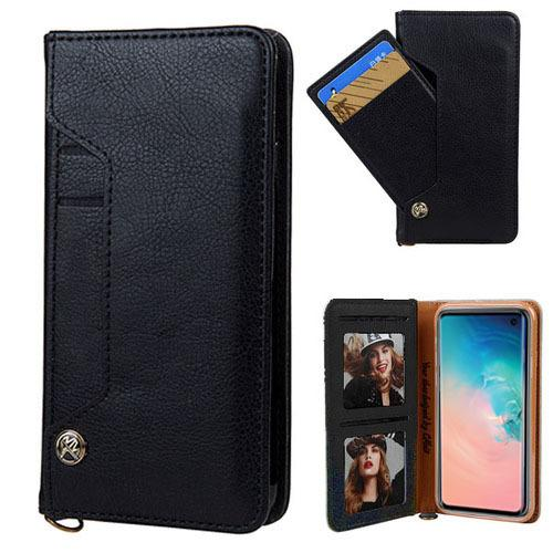 Ludic Leather Wallet Case For iPhone Xs Max - Black