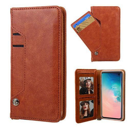 Ludic Leather Wallet Case For Samsung Galaxy Note 10 Plus - Brown