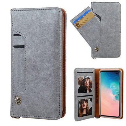 Ludic Leather Wallet Case For Samsung Galaxy Note 10 Plus - Grey