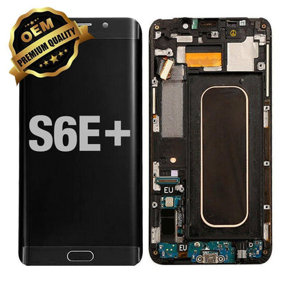 LCD Assembly With Frame for GALAXY S6 EDGE PLUS (G928) (Premium) - Black Sapphire