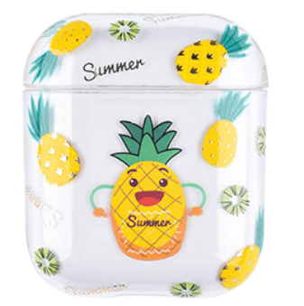 Transparent Summer Case for Apple Airpods 1/2 - Pineapple