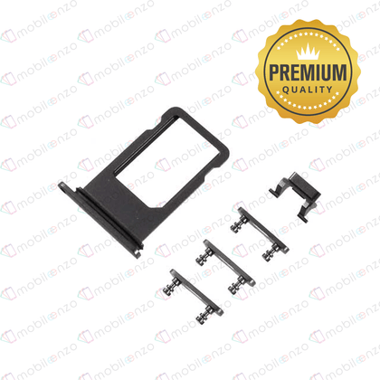Sim Card Tray and Hard Buttons Set for iPhone 8 (Premium Quality) - Black