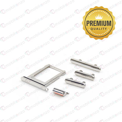 Sim Card Tray and Hard Buttons Set for iPhone X (Premium Quality) - White