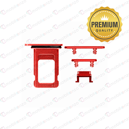 Sim Card Tray and Hard Buttons Set for iPhone XR (Premium Quality) - Red