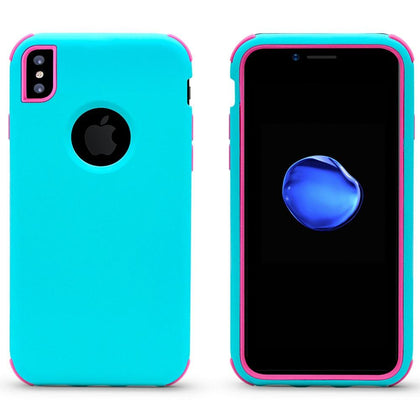 Bumper Hybrid Combo Layer Protective Case for iPhone X, Xs - Teal & Hotpink