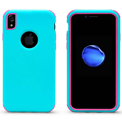 Bumper Hybrid Combo Layer Protective Case for iPhone XR - Teal & Hotpink