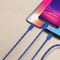 3 in 1 USB Multifunctional Cable ( iOS / Type C / Micro ) - Blue