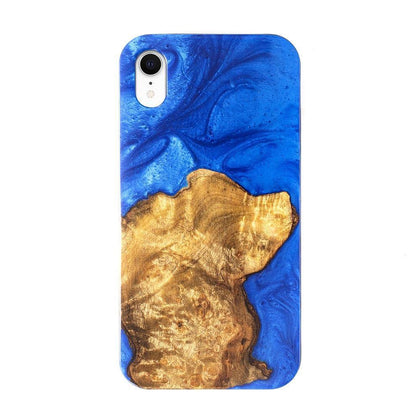 Unique Clean Green Style Natural Resin Wooden Case for iPhone XR - Blue
