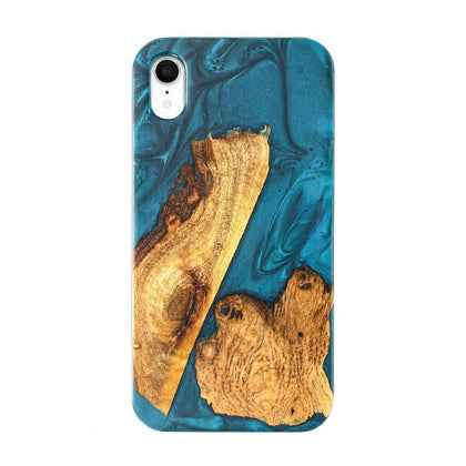 Unique Clean Green Style Natural Resin Wooden Case for iPhone XR - Green