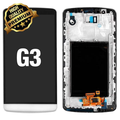 LCD Assembly for LG G3 With Frame (Premium Quality) - White