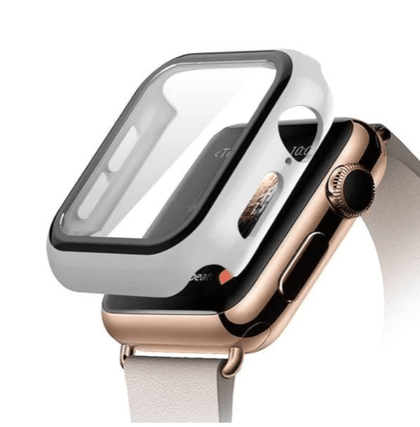 Hard PC Case with Tempered Glass For iWatch 38mm - White