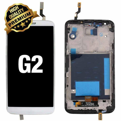 LCD Assembly for LG G2 with Frame (Premium Quality) - White | MobilEnzo