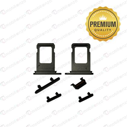 Sim Card Tray and Hard Buttons Set for iPhone XR (Premium Quality) - Black