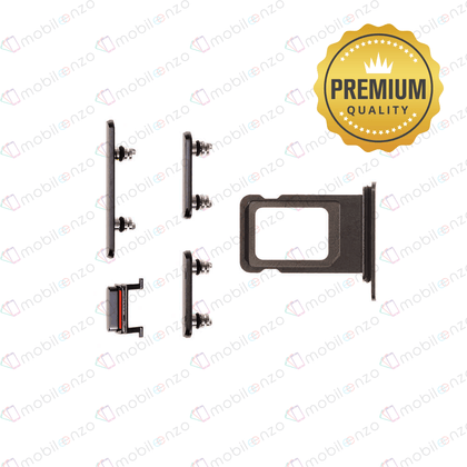 Sim Card Tray and Hard Buttons Set for iPhone Xs Max (Premium Quality) - Black