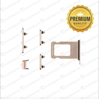 Sim Card Tray and Hard Buttons Set for iPhone Xs Max (Premium Quality) - Gold