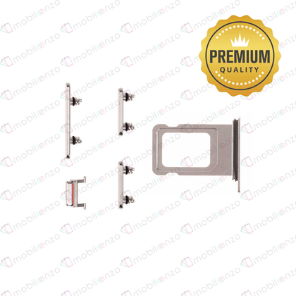 Sim Card Tray and Hard Buttons Set for iPhone Xs Max (Premium Quality) - White