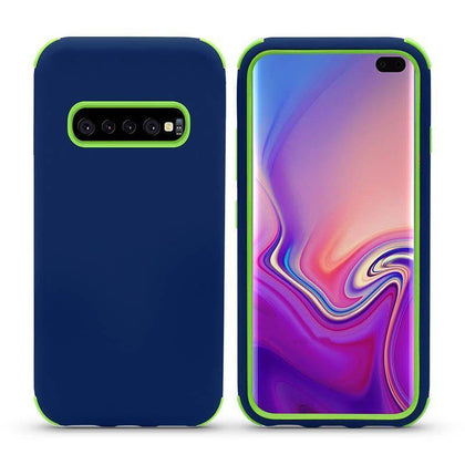 Bumper Hybrid Combo Layer Protective Case for Samsung Galaxy S10 Plus - Dark Blue & Green