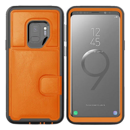 Dual Leather Card Case for Galaxy S9 Plus - Orange