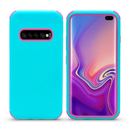 Bumper Hybrid Combo Layer Protective Case for Samsung Galaxy S10 Plus - Teal & Hotpink