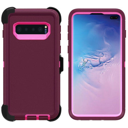 DualPro Protector Case for Samsung S10 Plus - Burgundy & Pink