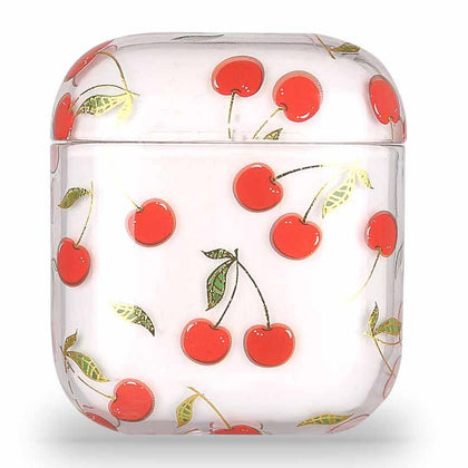 Transparent Summer Case for Apple Airpods 1/2 - Cherry