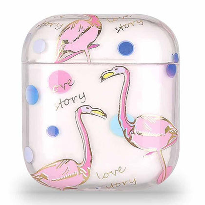 Transparent Summer Case for Apple Airpods 1/2 - Pink Flamingo