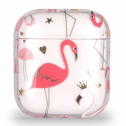 Transparent Summer Case for Apple Airpods 1/2 - Red Flamingo