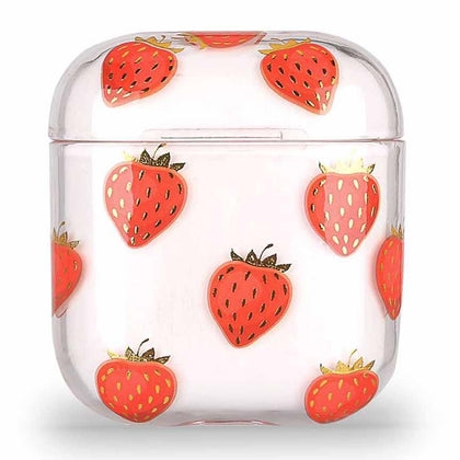 Transparent Summer Case for Apple Airpods 1/2 - Strawberry