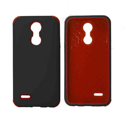 Bumper Hybrid Combo Layer Protective Case for LG Aristo 2 (k8-2018) - Black - Black & Red