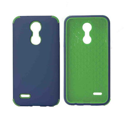 Bumper Hybrid Combo Layer Protective Case for LG Aristo 2 (k8-2018) - Black - Dark Blue & Green