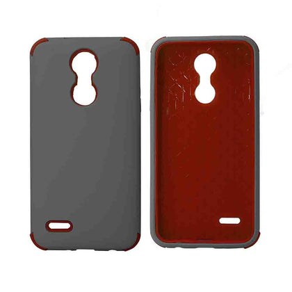 Bumper Hybrid Combo Layer Protective Case for LG Aristo 2 (k8-2018) - Black - Grey & Red